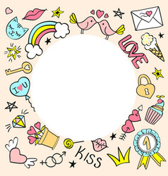 Round frame with hand drawn girly doodles vector