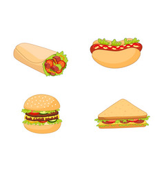 Sandwich burger hot dog shawarma roll set vector