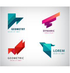 set abstract origami logos triangles vector image