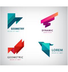 Set abstract origami logos triangles vector