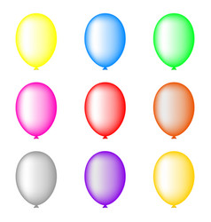 set colored balloons isolated on white vector image
