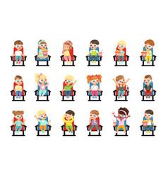 set cute little kids vector image
