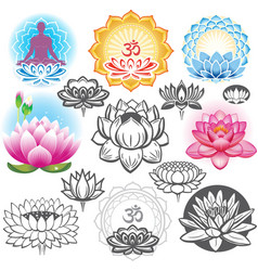 set lotuses and esoteric symbols vector image