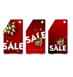 Set of sale and discount paper labels with golden vector image