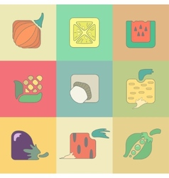 Set of stylized vegetables flat icons isolated on vector image