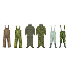 Set overalls for hunting and fishing with boots vector