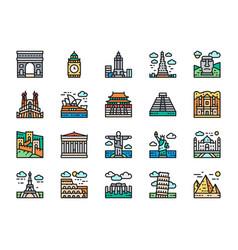 set travel locations landmark flat color line vector image