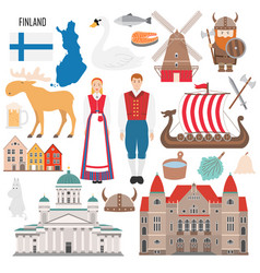 set with finland symbols in flat style vector image