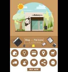 Shop and flat icons for e commerce Bakery shop vector image