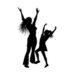 silhouette of mother and daughter with arms vector image