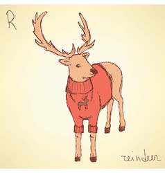 Sketch fancy reindeer in vintage style vector image
