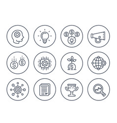 Startup line icons set on white vector