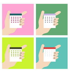 stock calendar in the hands of man one hand man vector image