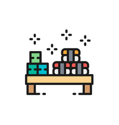 sushi set on small desk japanese cuisine flat vector image