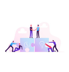 Team metaphor business people connecting puzzle vector