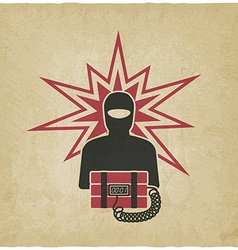 Terrorist with bomb old background vector