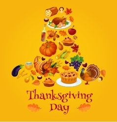 Thanksgiving day symbols in shape of pilgrim hat vector