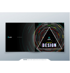 Trendy glitch cover design template for sqaure vector