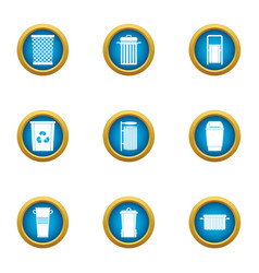 unnecessary trash icons set flat style vector image