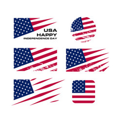 usa flag set with scrapes on white background vector image