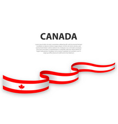 Waving ribbon or banner with flag canada vector
