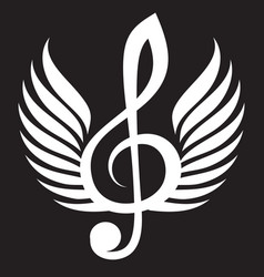 white treble clef with wings vector image