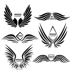 Wings Monochrome Logo Elements Set vector image