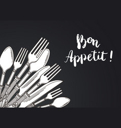 with hand drawn tableware on vector image
