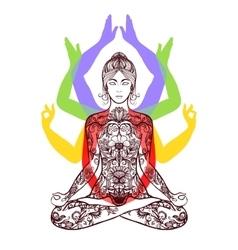 Yoga meditating in lotus asana icon vector