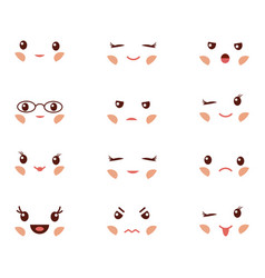 cute emoticons with different emotions vector image