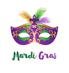 mardi gras card with carnival mask vector image