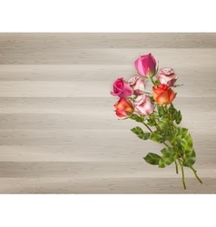 Red roses on a wooden background EPS 10 vector image vector image