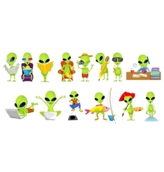 set of green aliens hobby vector image vector image