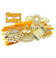 Happy Lohri background for Punjabi festival vector image