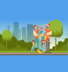 happy tired parents with many children on city vector image vector image