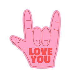 love you foam hand happy valentines day vector image vector image