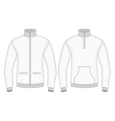Mens roll-neck sweaters with zip and pockets vector image vector image