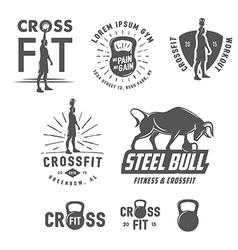 Set of vintage fitness emblems and design elements vector image