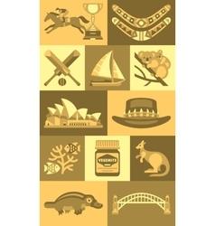 Travel Concept Australia Landmark Flat Icons vector image