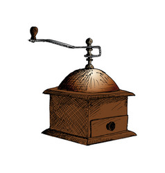 coffee mill coffee grinder hand drawn sketch vector image