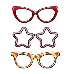 colorful eyeglass frames set vector image