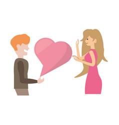 couple romantic talking heart love image vector image