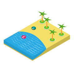 isometric of a beach with palm trees vector image