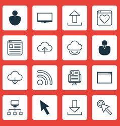 set of 16 internet icons includes blog page send vector image