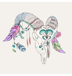 Hand drawn ram skull with colorful feathers vector image vector image