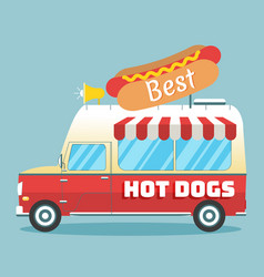 hot dogs truck vector image vector image