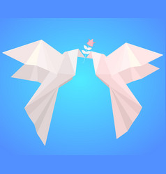 pair of paper origami pigeons with flower symbo vector image