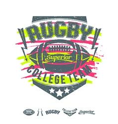 Rugby emblem girls print and design elements vector image vector image