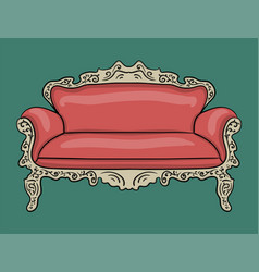 sofa with a pink upholstery and a wooden carved vector image