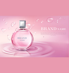 3d realistic perfume bottle ad poster vector image